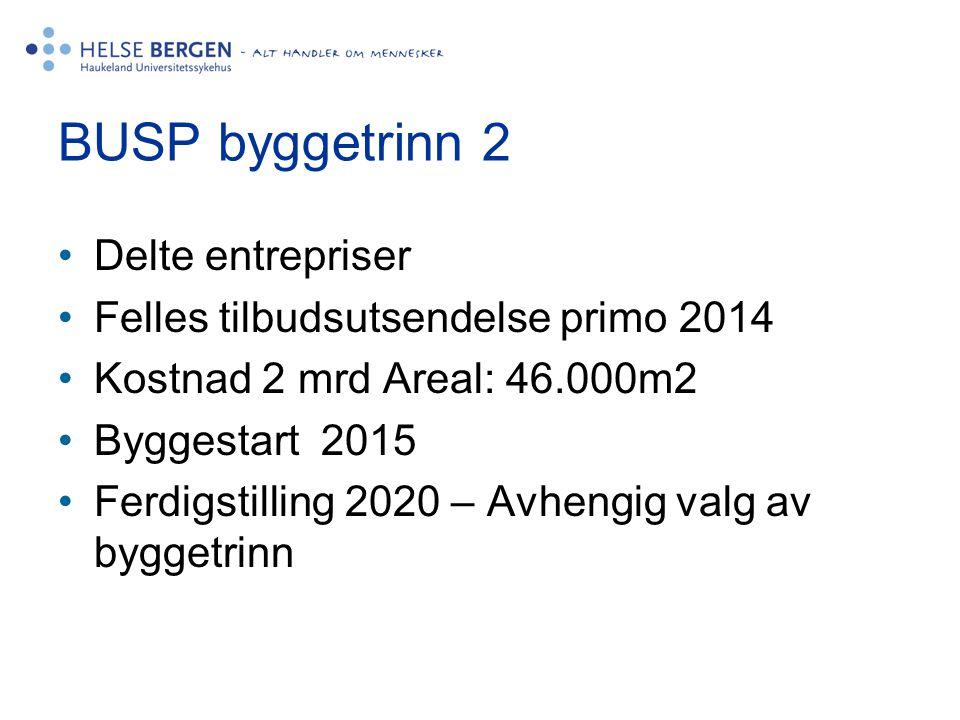 BUSP byggetrinn 2 •Delte entrepriser •Felles tilbudsutsendelse primo 2014 •Kostnad 2 mrd Areal: 46.000m2 •Byggestart 2015 •Ferdigstilling 2020 – Avhen