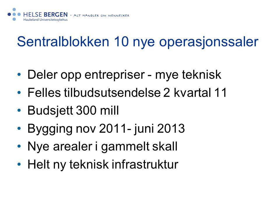 •Deler opp entrepriser - mye teknisk •Felles tilbudsutsendelse 2 kvartal 11 •Budsjett 300 mill •Bygging nov 2011- juni 2013 •Nye arealer i gammelt ska