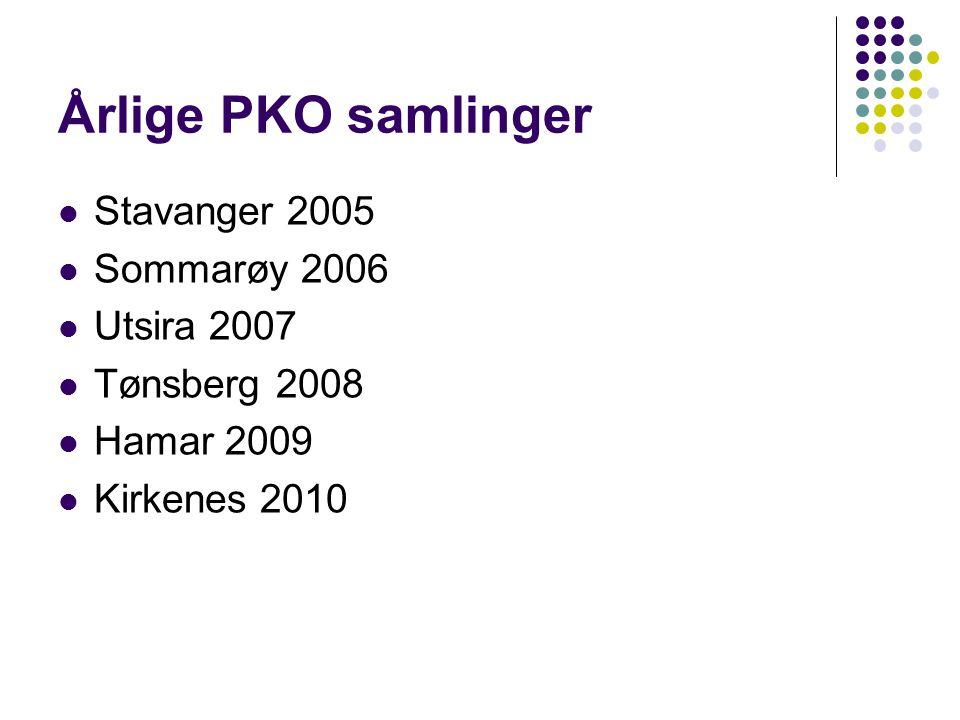 Hver gang vi møtes diskuterer vi Behov for bedre forankring i forhold til  legeforeningen  helseforetak  sentrale helsemyndigheter  andre samhandlere/PKO'er  Kommuner Savn av felles verktøykasse Lege-PKO i forhold til andre PKO'er og andre samhandlere