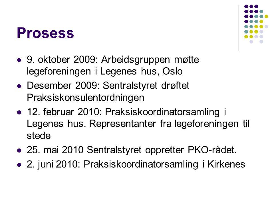 Prosess  9. oktober 2009: Arbeidsgruppen møtte legeforeningen i Legenes hus, Oslo  Desember 2009: Sentralstyret drøftet Praksiskonsulentordningen 