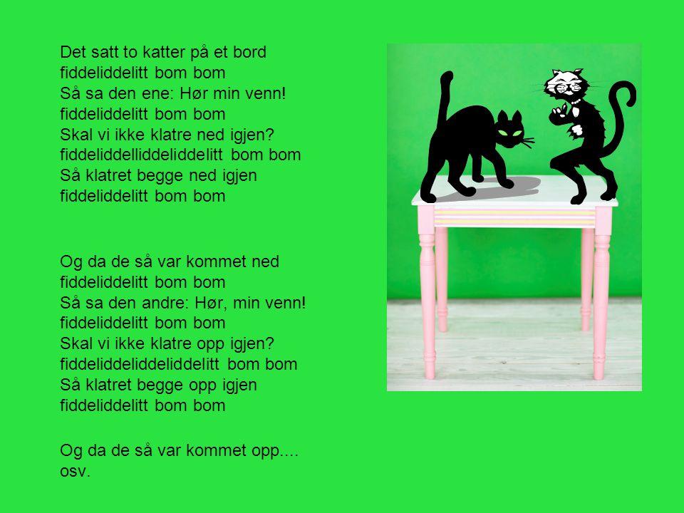 Det satt to katter på et bord fiddeliddelitt bom bom Så sa den ene: Hør min venn! fiddeliddelitt bom bom Skal vi ikke klatre ned igjen? fiddeliddellid