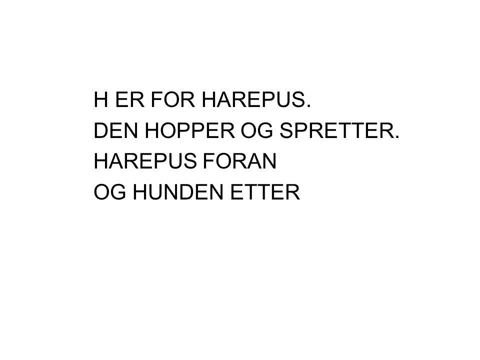 H ER FOR HAREPUS. DEN HOPPER OG SPRETTER. HAREPUS FORAN OG HUNDEN ETTER