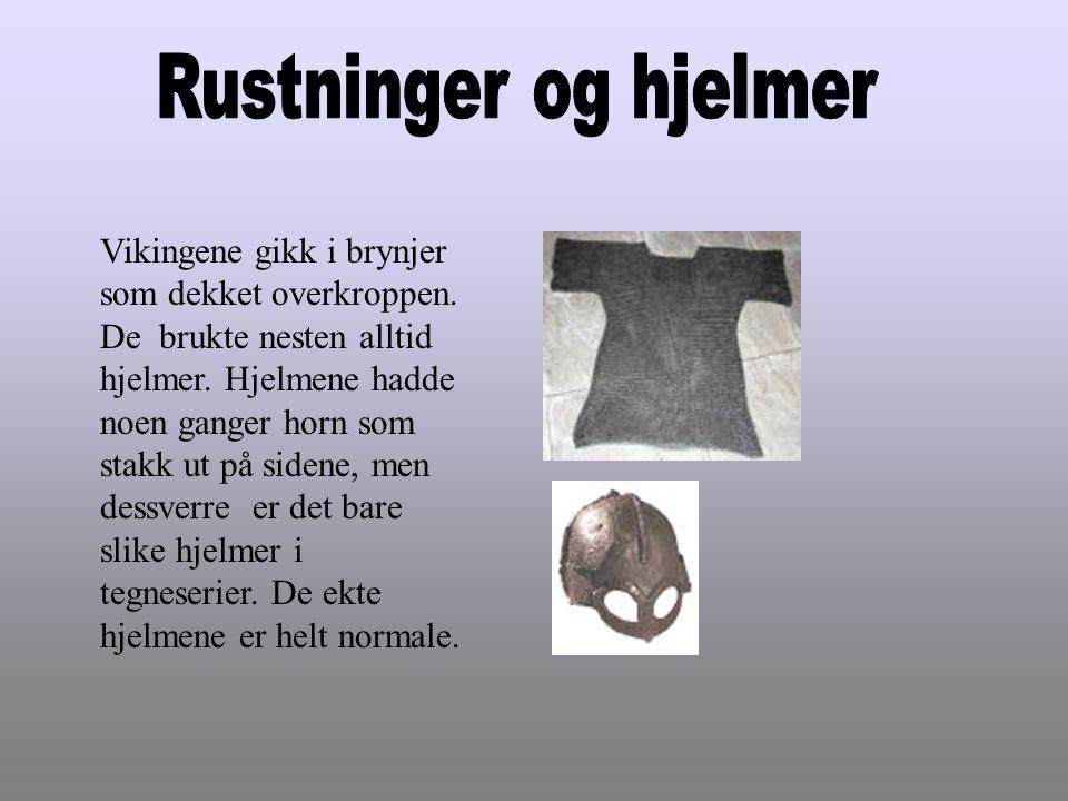 Vikingene gikk i brynjer som dekket overkroppen. De brukte nesten alltid hjelmer. Hjelmene hadde noen ganger horn som stakk ut på sidene, men dessverr