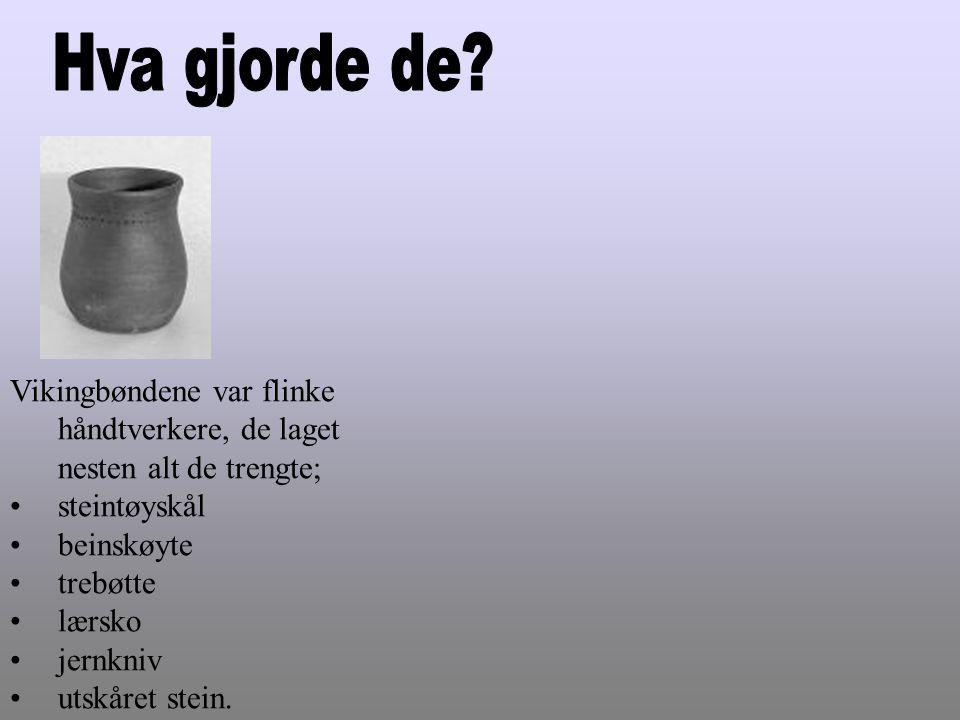 Vikingbøndene var flinke håndtverkere, de laget nesten alt de trengte; •steintøyskål •beinskøyte •trebøtte •lærsko •jernkniv •utskåret stein.
