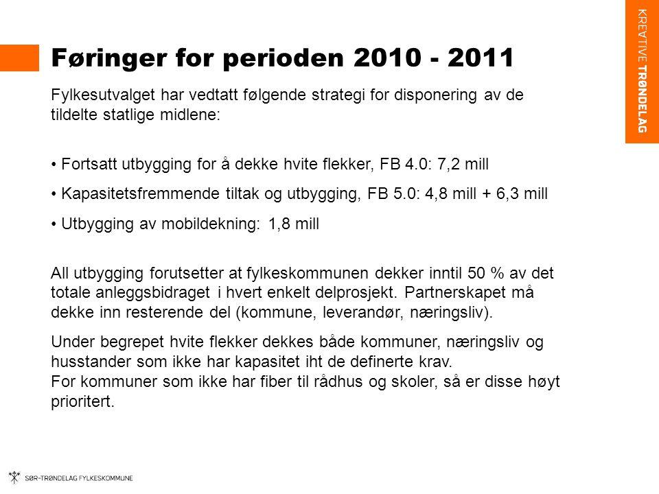 Føringer for perioden 2010 - 2011 Fylkesutvalget har vedtatt følgende strategi for disponering av de tildelte statlige midlene: • Fortsatt utbygging for å dekke hvite flekker, FB 4.0: 7,2 mill • Kapasitetsfremmende tiltak og utbygging, FB 5.0: 4,8 mill + 6,3 mill • Utbygging av mobildekning: 1,8 mill All utbygging forutsetter at fylkeskommunen dekker inntil 50 % av det totale anleggsbidraget i hvert enkelt delprosjekt.