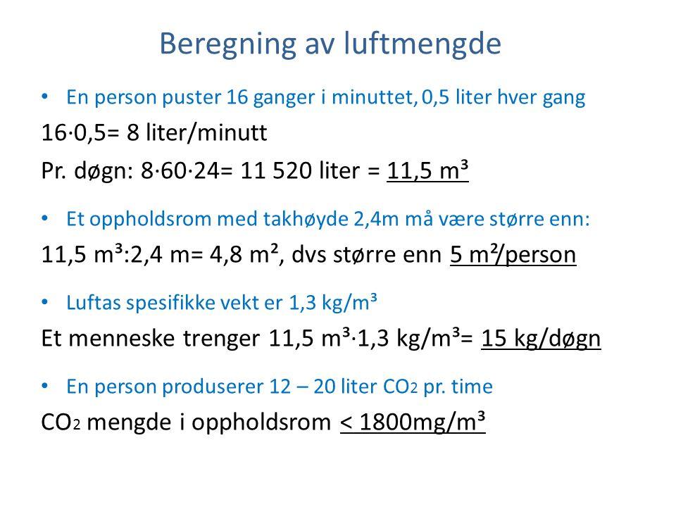 Beregning av luftmengde • En person puster 16 ganger i minuttet, 0,5 liter hver gang 16·0,5= 8 liter/minutt Pr. døgn: 8·60·24= 11 520 liter = 11,5 m³
