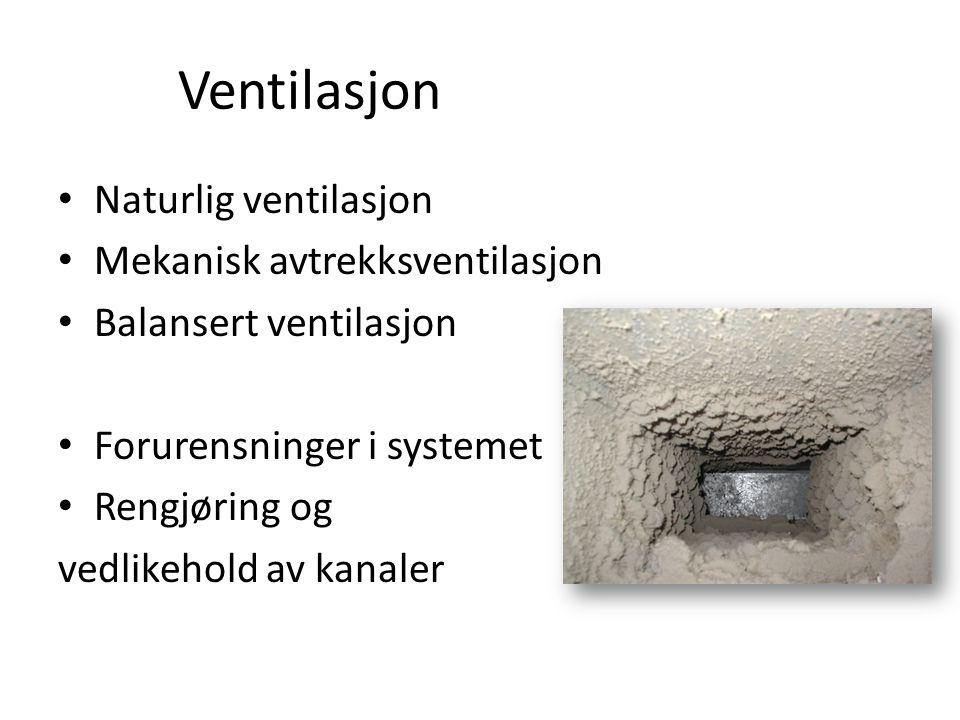 Ventilasjon • Naturlig ventilasjon • Mekanisk avtrekksventilasjon • Balansert ventilasjon • Forurensninger i systemet • Rengjøring og vedlikehold av k