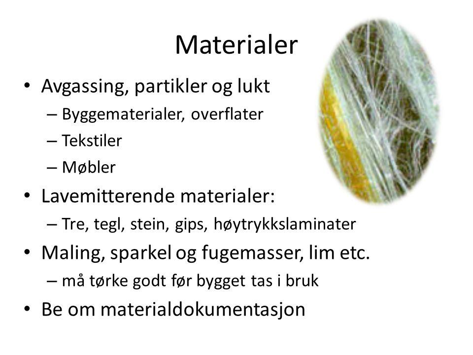 Gass fra grunnen Radoninnhold i ulik materiale: • Alunskifer100 - 5000 Bq/kg • Alunskifrig jord175 - 2500 Bq/kg • Uranrikt granittisk materiale 75 - 360 Bq/kg • Tilkjørt masse bør ikke inneholde mer enn 300 Bq/kg