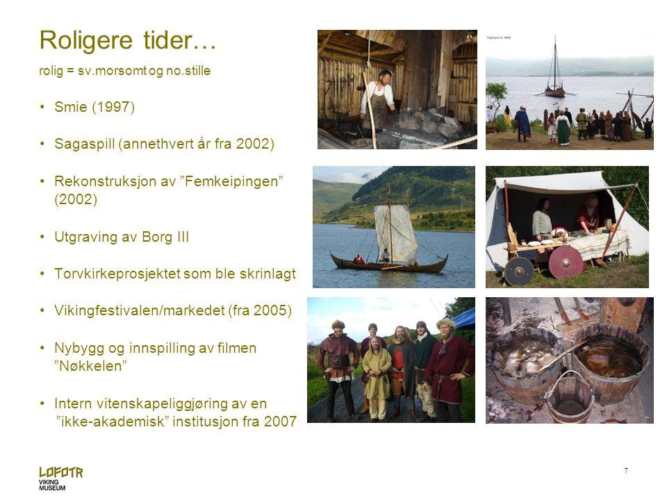 8 Gilder og arrangementerHåndverk og eksperimentell arkeologi Guiding i hus og formidling i landskap AktiviteterUtstillinger Vikingfestival og sagaspel
