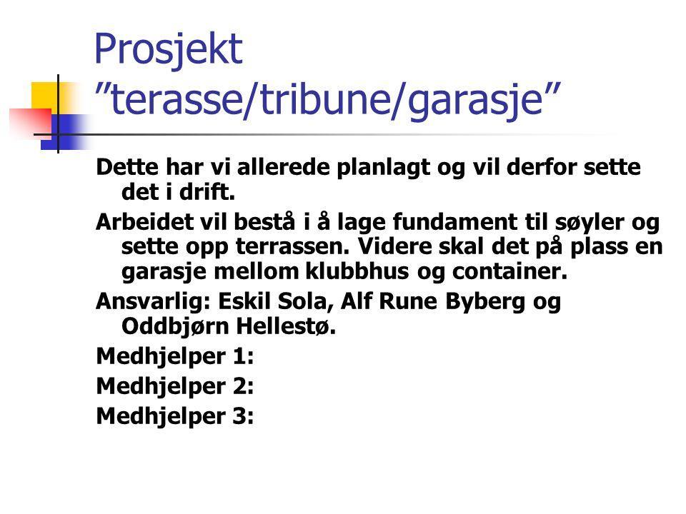 Prosjekt terasse/tribune/garasje Dette har vi allerede planlagt og vil derfor sette det i drift.