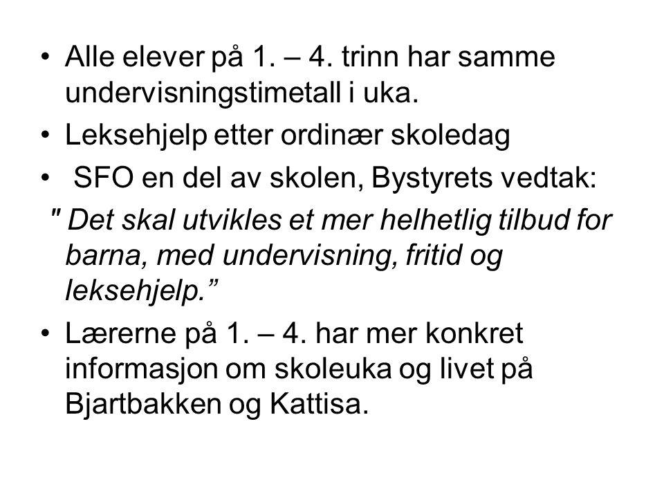 •Alle elever på 1. – 4. trinn har samme undervisningstimetall i uka. •Leksehjelp etter ordinær skoledag • SFO en del av skolen, Bystyrets vedtak: