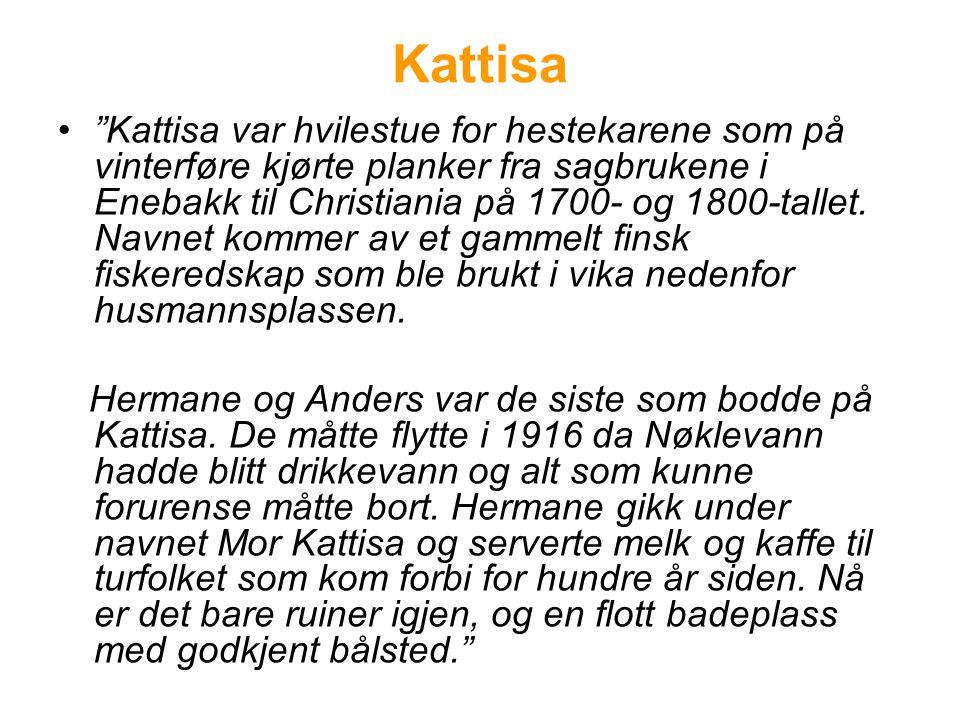 """Kattisa •""""Kattisa var hvilestue for hestekarene som på vinterføre kjørte planker fra sagbrukene i Enebakk til Christiania på 1700- og 1800-tallet. Nav"""
