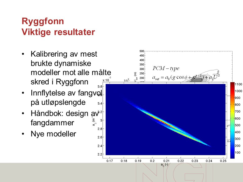 Ryggfonn Viktige resultater •Kalibrering av mest brukte dynamiske modeller mot alle målte skred i Ryggfonn •Innflytelse av fangvoll på utløpslengde •H