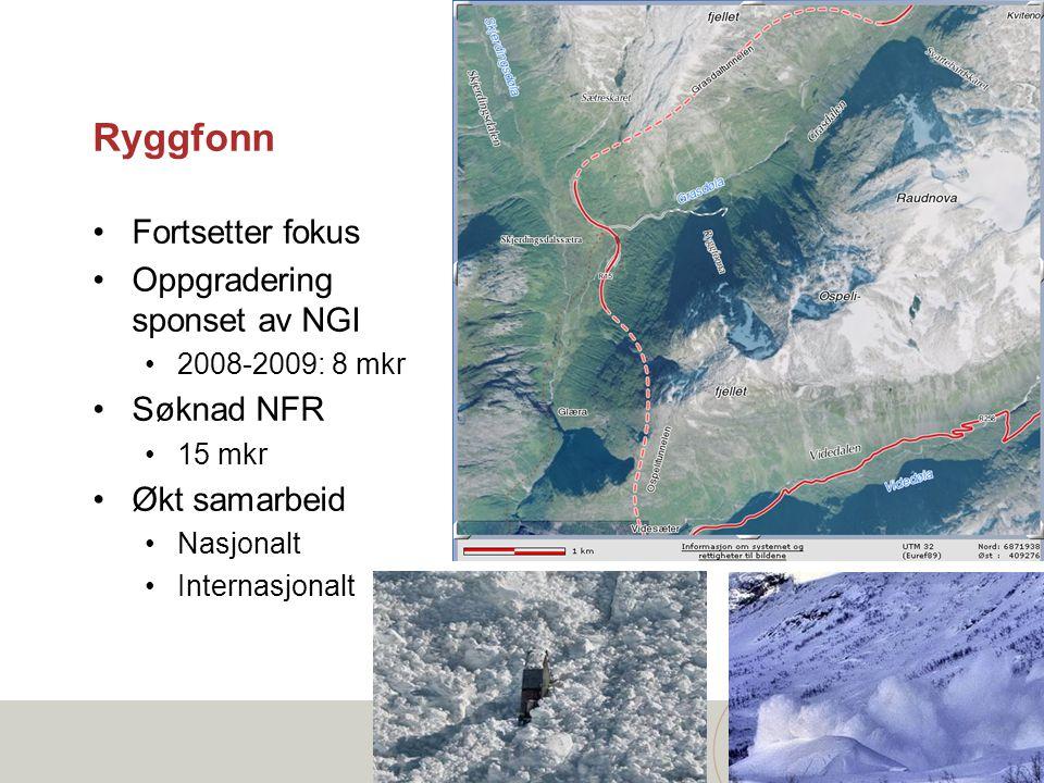 Ryggfonn •Fortsetter fokus •Oppgradering sponset av NGI •2008-2009: 8 mkr •Søknad NFR •15 mkr •Økt samarbeid •Nasjonalt •Internasjonalt