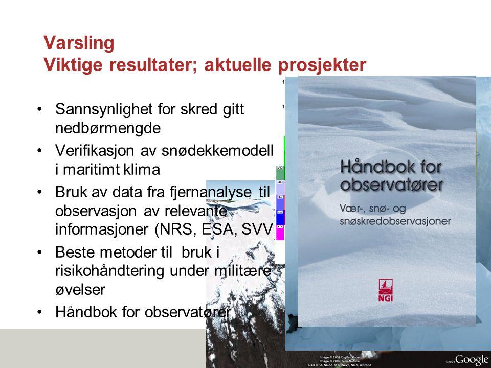 Varsling Viktige resultater; aktuelle prosjekter •Sannsynlighet for skred gitt nedbørmengde •Verifikasjon av snødekkemodell i maritimt klima •Bruk av