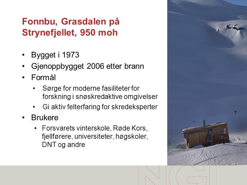 Fonnbu, Grasdalen på Strynefjellet, 950 moh •Bygget i 1973 •Gjenoppbygget 2006 etter brann •Formål •Sørge for moderne fasiliteter for forskning i snøs
