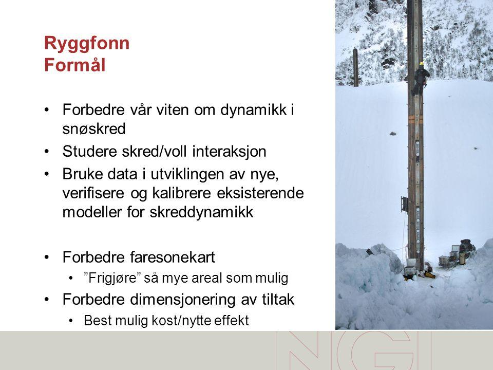 Ryggfonn Formål •Forbedre vår viten om dynamikk i snøskred •Studere skred/voll interaksjon •Bruke data i utviklingen av nye, verifisere og kalibrere e