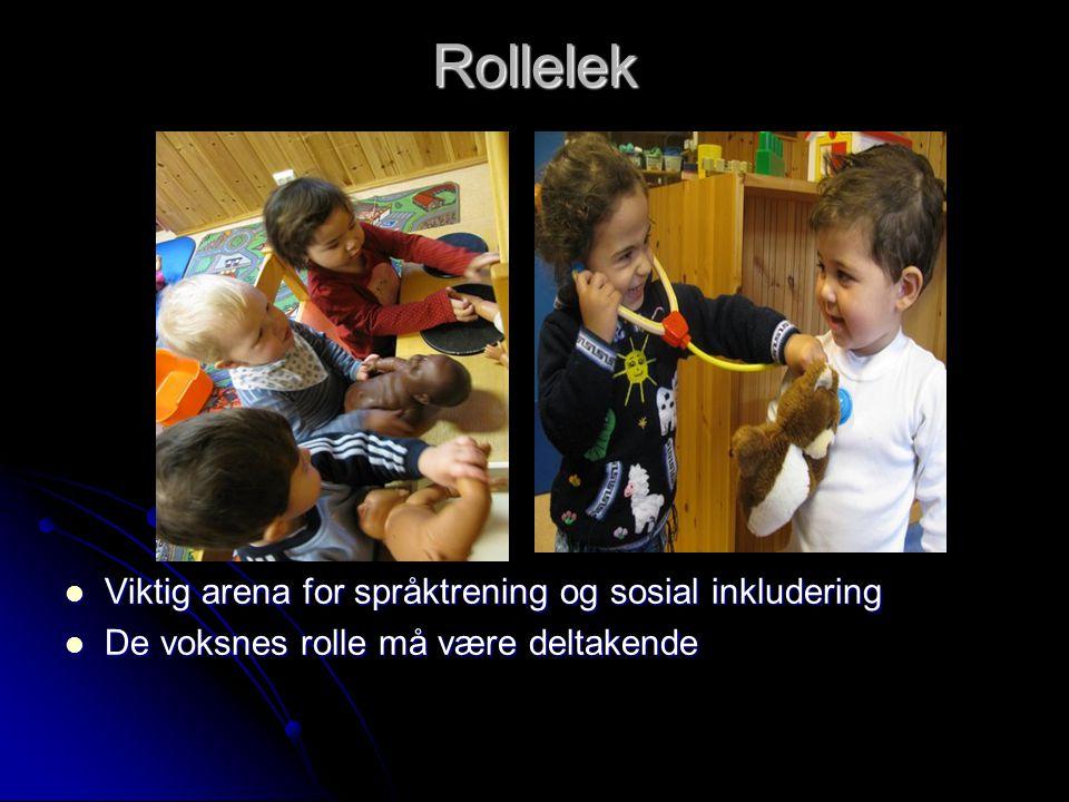 Rollelek  Viktig arena for språktrening og sosial inkludering  De voksnes rolle må være deltakende