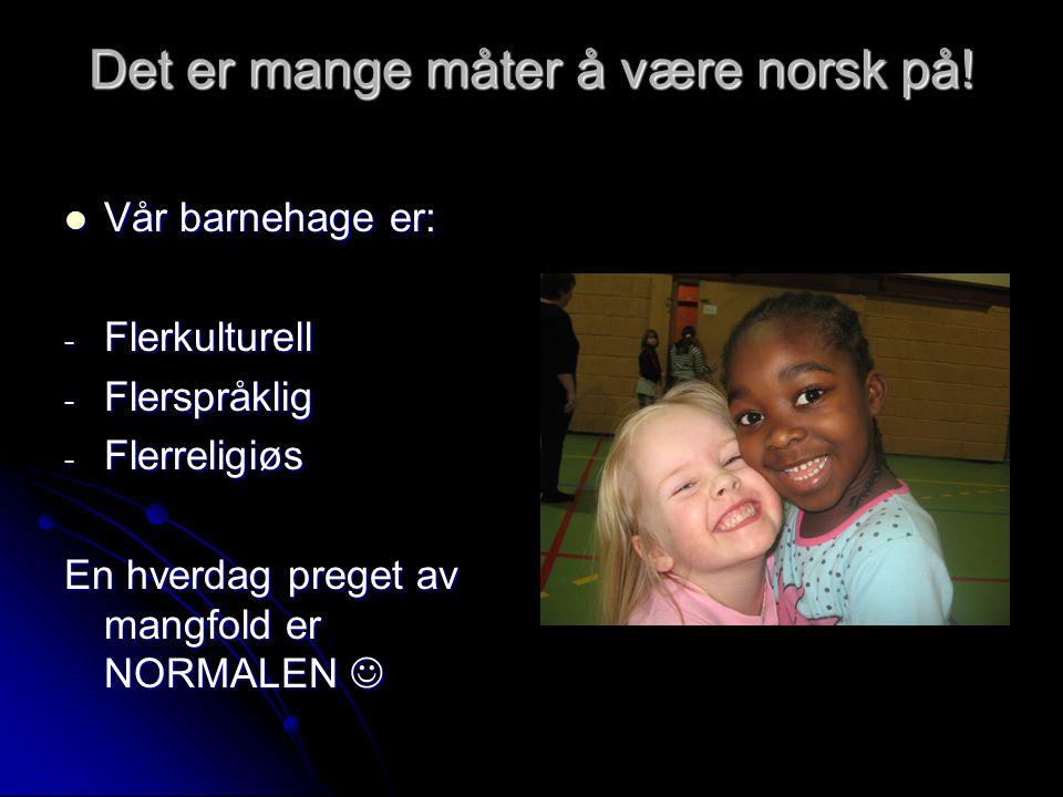 Det er mange måter å være norsk på!  Vår barnehage er: - Flerkulturell - Flerspråklig - Flerreligiøs En hverdag preget av mangfold er NORMALEN 