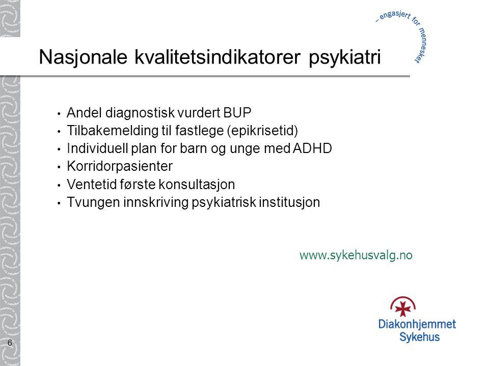 6 Nasjonale kvalitetsindikatorer psykiatri • Andel diagnostisk vurdert BUP • Tilbakemelding til fastlege (epikrisetid) • Individuell plan for barn og
