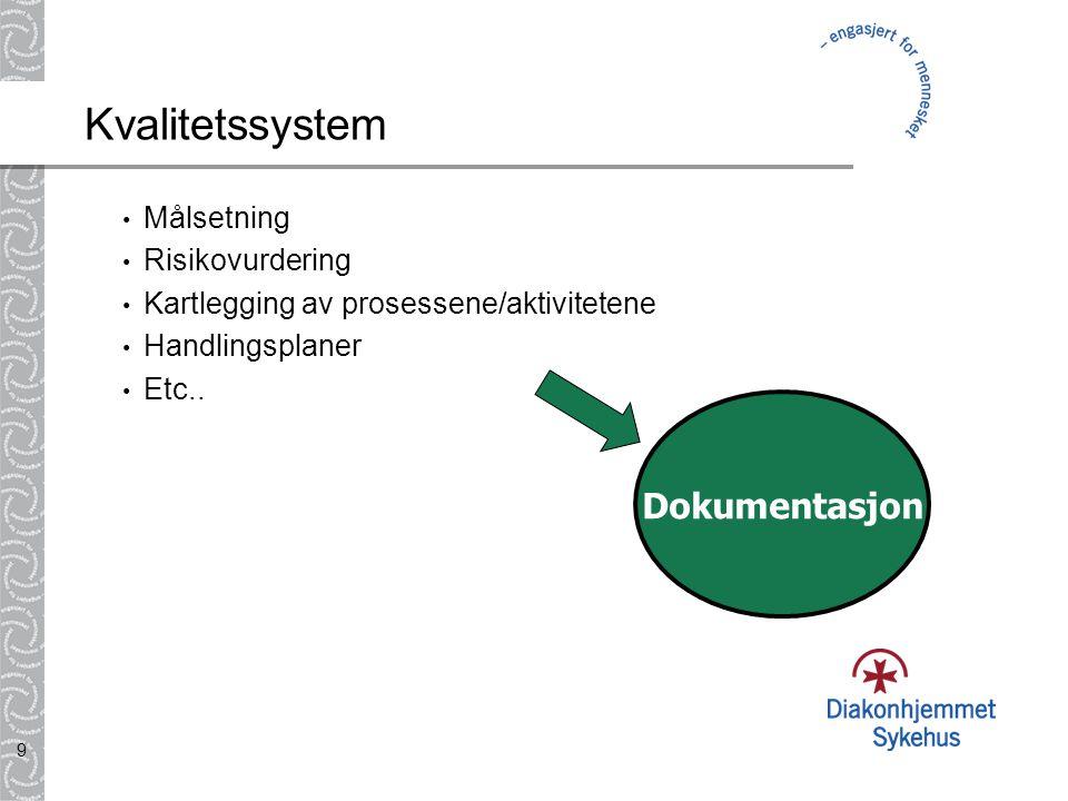9 Kvalitetssystem • Målsetning • Risikovurdering • Kartlegging av prosessene/aktivitetene • Handlingsplaner • Etc.. Dokumentasjon