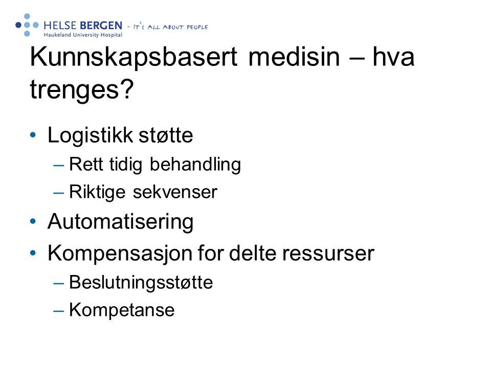 Kunnskapsbasert medisin – hva trenges? •Logistikk støtte –Rett tidig behandling –Riktige sekvenser •Automatisering •Kompensasjon for delte ressurser –