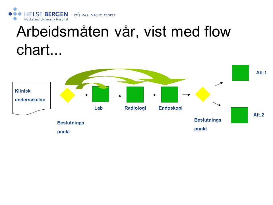 Arbeidsmåten vår, vist med flow chart... Klinisk undersøkelse Alt.1 Alt.2 Lab Radiologi Endoskopi Beslutnings punkt Beslutnings punkt
