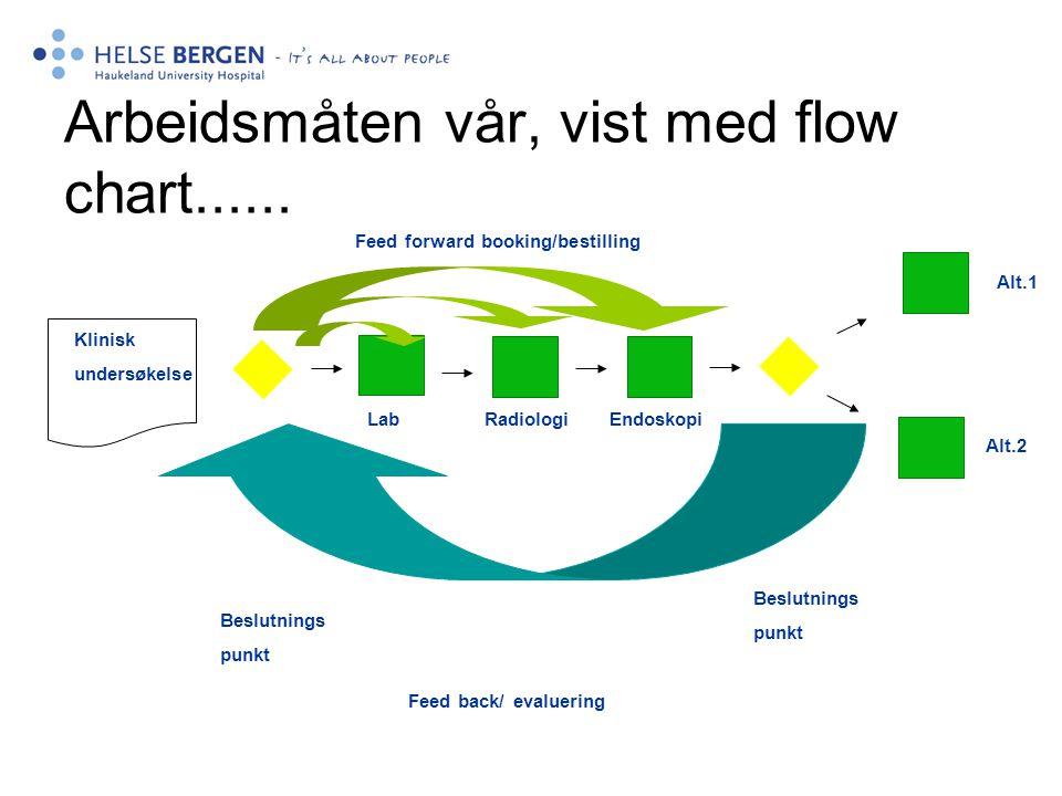 Arbeidsmåten vår, vist med flow chart...... Klinisk undersøkelse Alt.1 Alt.2 Lab Radiologi Endoskopi Beslutnings punkt Beslutnings punkt Feed forward