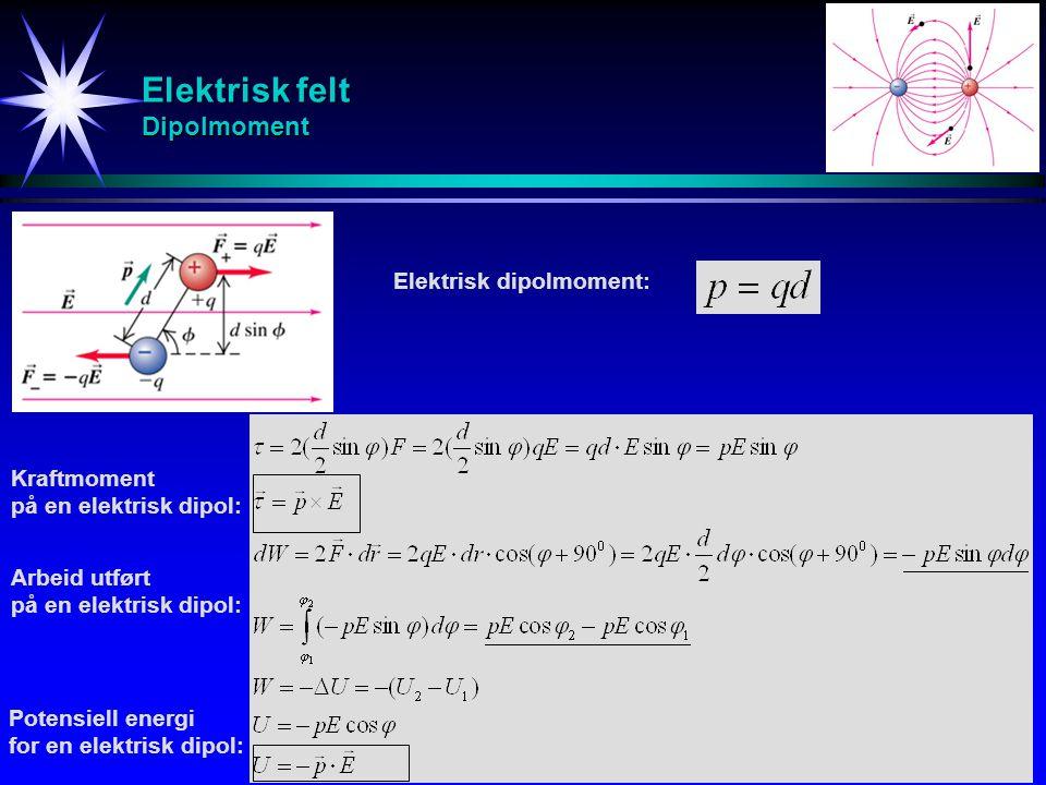 Elektrisk felt Dipolmoment Elektrisk dipolmoment: Kraftmoment på en elektrisk dipol: Arbeid utført på en elektrisk dipol: Potensiell energi for en ele