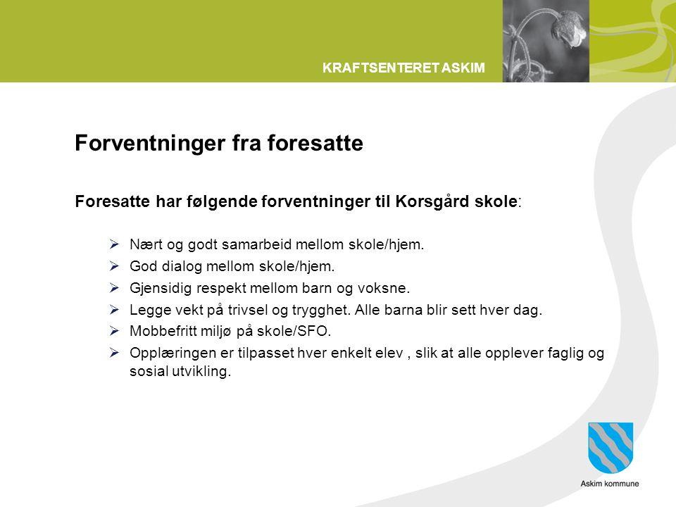 KRAFTSENTERET ASKIM Forventninger fra foresatte Foresatte har følgende forventninger til Korsgård skole:  Nært og godt samarbeid mellom skole/hjem. 