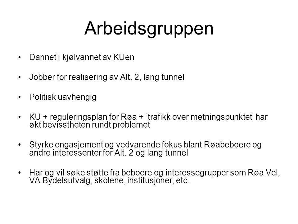 Arbeidsgruppen •Dannet i kjølvannet av KUen •Jobber for realisering av Alt. 2, lang tunnel •Politisk uavhengig •KU + reguleringsplan for Røa + 'trafik