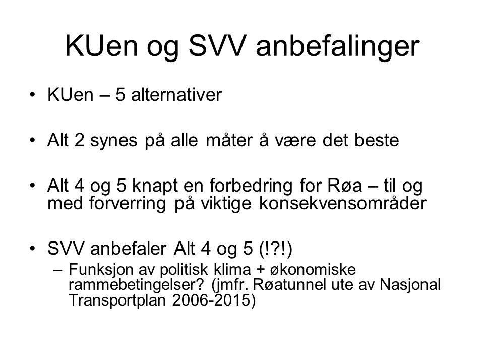 KUen og SVV anbefalinger •KUen – 5 alternativer •Alt 2 synes på alle måter å være det beste •Alt 4 og 5 knapt en forbedring for Røa – til og med forve