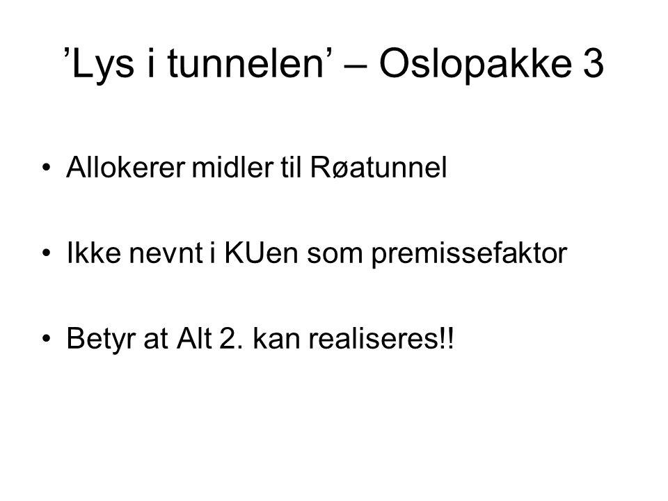 'Lys i tunnelen' – Oslopakke 3 •Allokerer midler til Røatunnel •Ikke nevnt i KUen som premissefaktor •Betyr at Alt 2. kan realiseres!!