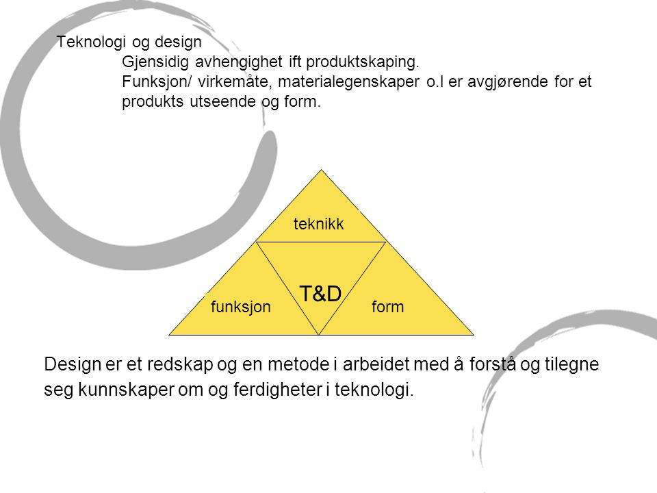Teknologi og design Gjensidig avhengighet ift produktskaping. Funksjon/ virkemåte, materialegenskaper o.l er avgjørende for et produkts utseende og fo