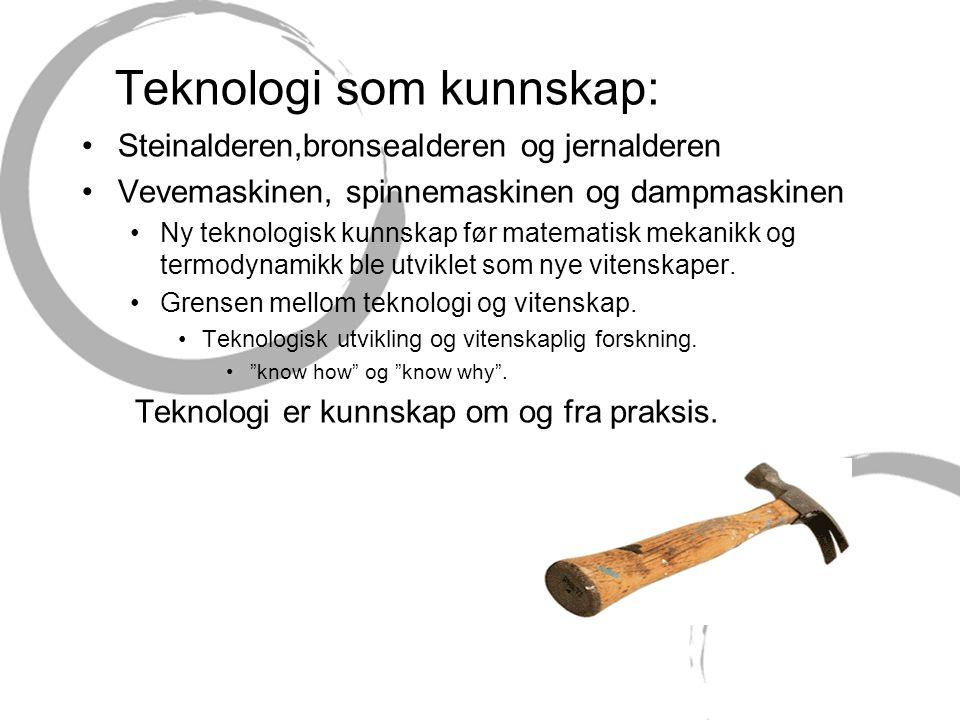 Teknologi som kunnskap: •Steinalderen,bronsealderen og jernalderen •Vevemaskinen, spinnemaskinen og dampmaskinen •Ny teknologisk kunnskap før matemati
