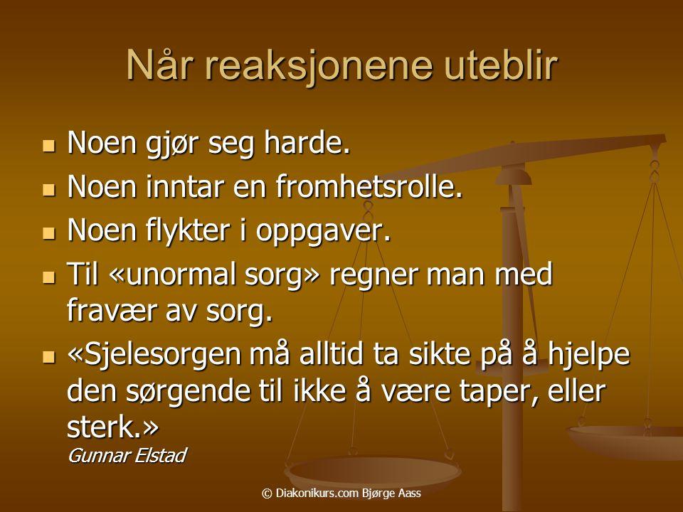 © Diakonikurs.com Bjørge Aass Når reaksjonene uteblir  Noen gjør seg harde.