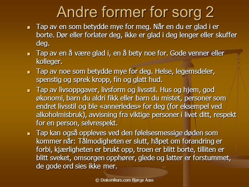 © Diakonikurs.com Bjørge Aass Andre former for sorg 2  Tap av en som betydde mye for meg.