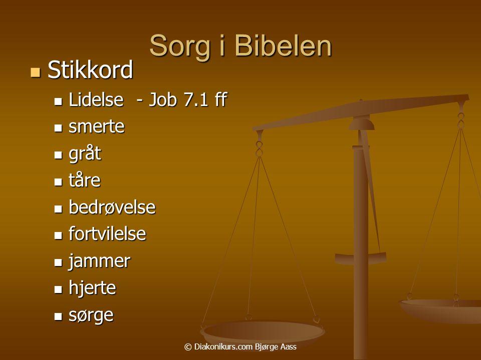 © Diakonikurs.com Bjørge Aass Sorg i Bibelen  Stikkord  Lidelse - Job 7.1 ff  smerte  gråt  tåre  bedrøvelse  fortvilelse  jammer  hjerte  sørge