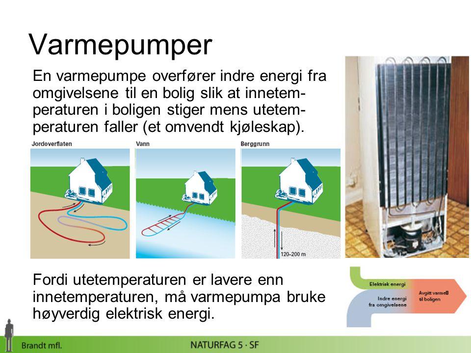 Varmepumper En varmepumpe overfører indre energi fra omgivelsene til en bolig slik at innetem- peraturen i boligen stiger mens utetem- peraturen falle