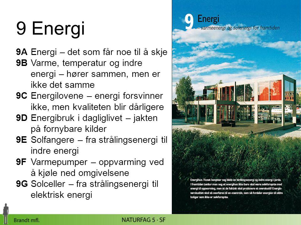 9 Energi 9AEnergi – det som får noe til å skje 9BVarme, temperatur og indre energi – hører sammen, men er ikke det samme 9C Energilovene – energi fors