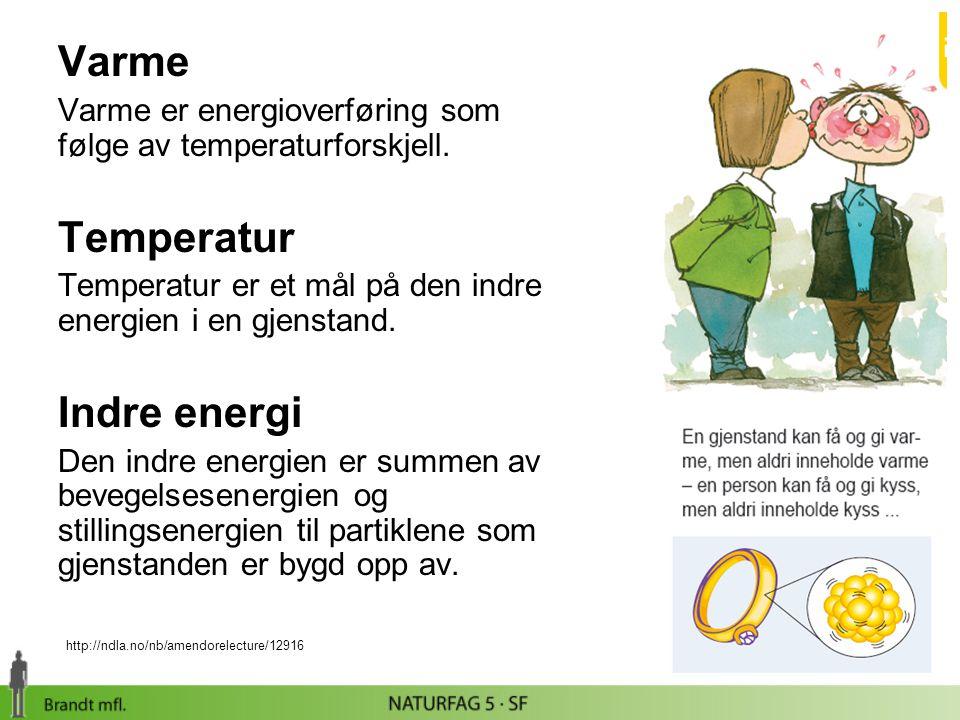 Varmepumper En varmepumpe overfører indre energi fra omgivelsene til en bolig slik at innetem- peraturen i boligen stiger mens utetem- peraturen faller (et omvendt kjøleskap).