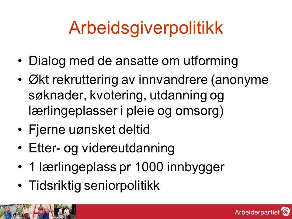 Arbeidsgiverpolitikk •Dialog med de ansatte om utforming •Økt rekruttering av innvandrere (anonyme søknader, kvotering, utdanning og lærlingeplasser i