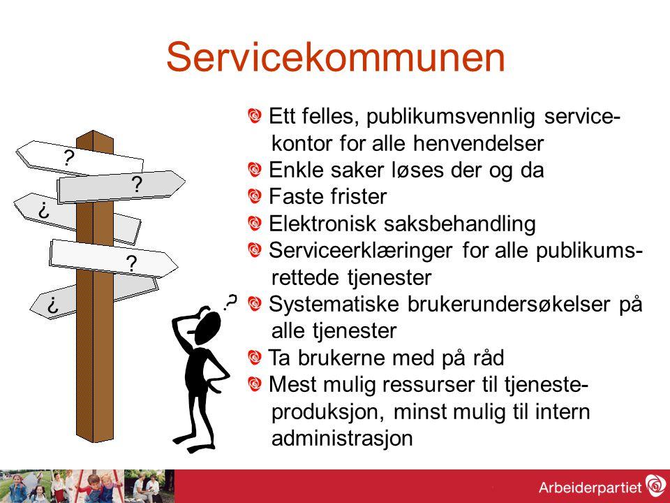 Servicekommunen ? ? ? ? ? Ett felles, publikumsvennlig service- kontor for alle henvendelser Enkle saker løses der og da Faste frister Elektronisk sak