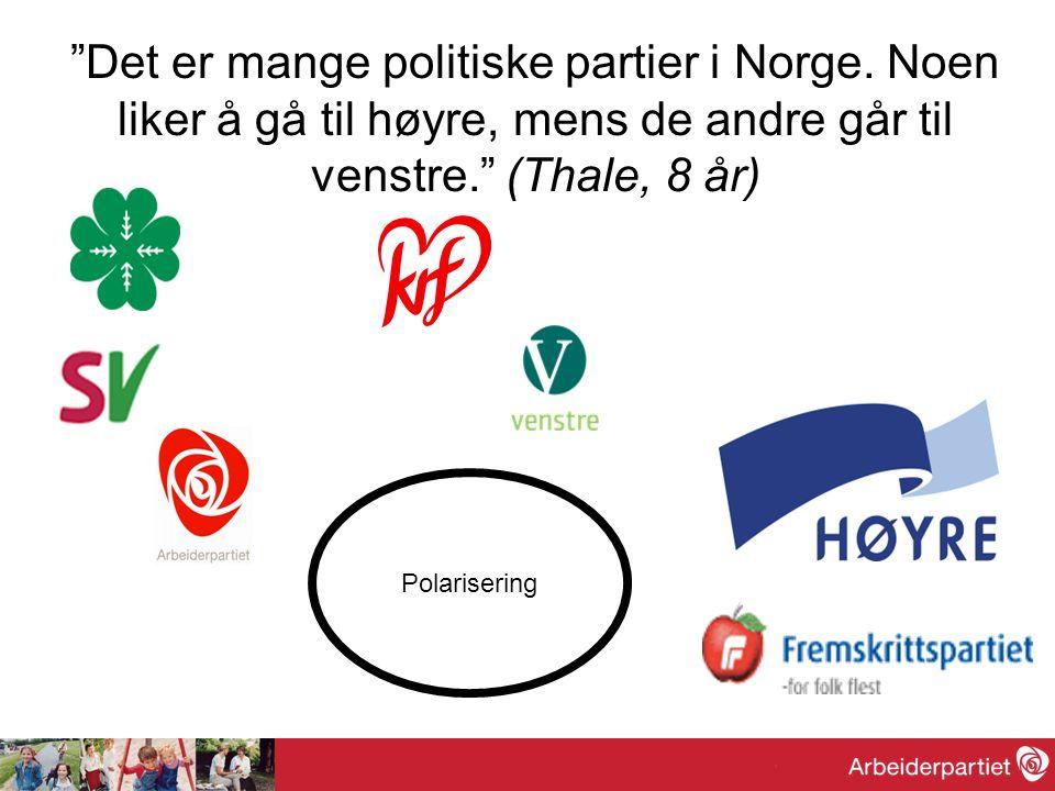 """""""Det er mange politiske partier i Norge. Noen liker å gå til høyre, mens de andre går til venstre."""" (Thale, 8 år) Polarisering"""