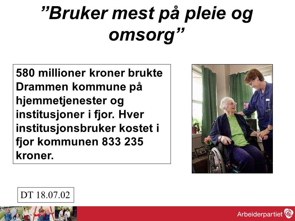 """""""Bruker mest på pleie og omsorg"""" 580 millioner kroner brukte Drammen kommune på hjemmetjenester og institusjoner i fjor. Hver institusjonsbruker koste"""
