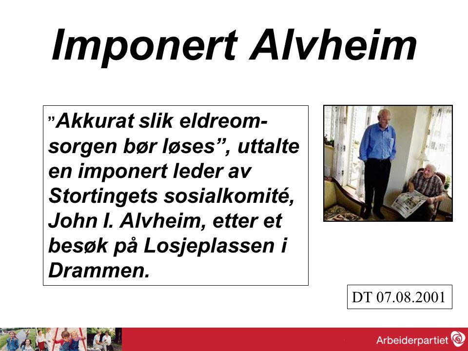 """Imponert Alvheim """" Akkurat slik eldreom- sorgen bør løses"""", uttalte en imponert leder av Stortingets sosialkomité, John I. Alvheim, etter et besøk på"""
