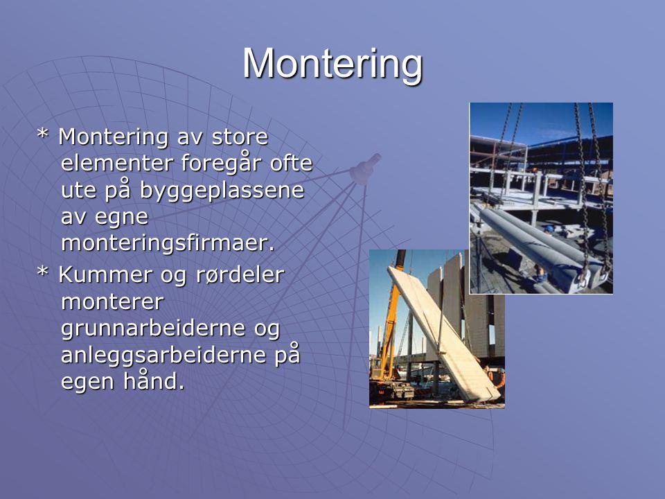Montering * Montering av store elementer foregår ofte ute på byggeplassene av egne monteringsfirmaer. * Kummer og rørdeler monterer grunnarbeiderne og