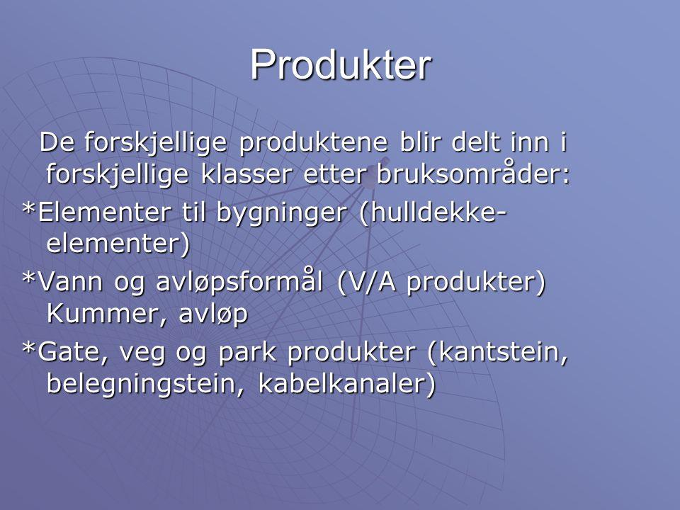 Produkter De forskjellige produktene blir delt inn i forskjellige klasser etter bruksområder: De forskjellige produktene blir delt inn i forskjellige klasser etter bruksområder: *Elementer til bygninger (hulldekke- elementer) *Vann og avløpsformål (V/A produkter) Kummer, avløp *Gate, veg og park produkter (kantstein, belegningstein, kabelkanaler)
