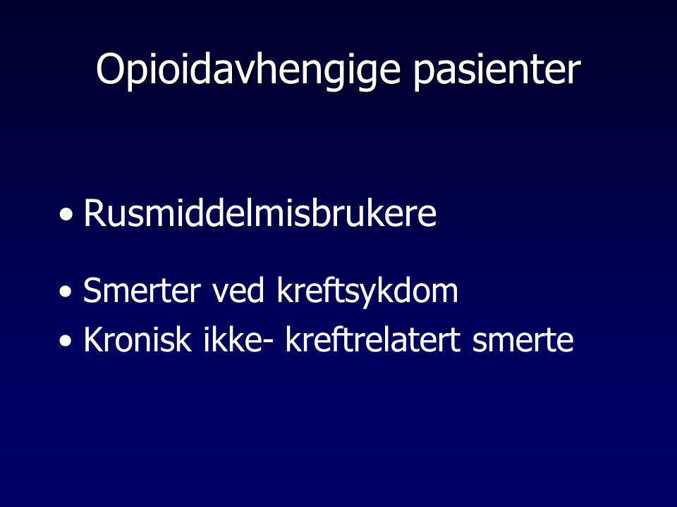 Opioidavhengige pasienter •Rusmiddelmisbrukere •Smerter ved kreftsykdom •Kronisk ikke- kreftrelatert smerte