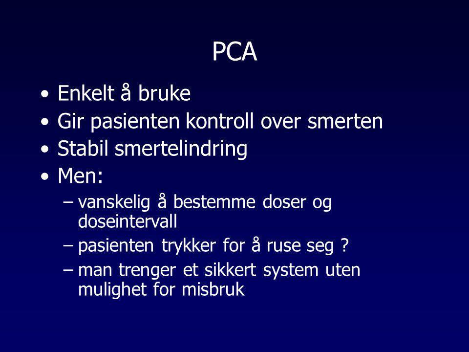 PCA •Enkelt å bruke •Gir pasienten kontroll over smerten •Stabil smertelindring •Men: –vanskelig å bestemme doser og doseintervall –pasienten trykker